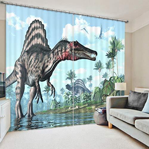 AICL Vorhänge 3D Blackout Wndow Vorhänge Mit Hook Up/Römischen Kreis Für Wohnzimmer Kinder Jungen Zimmer Vorhänge 2 Panel-Jurassic Dinosaurier W300cm H270cm - Jungen Vorhang-panels