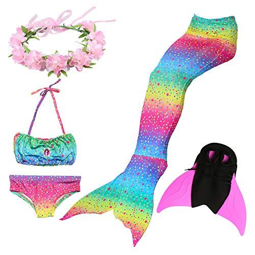 Liebe Kids meerjungfrau Flosse zum Schwimmen 5 Stücke Bikini kostüm für Mädchen Kinder für Cosplay Partei (130, - Lieben Cosplay Kostüm