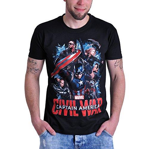 Captain America Civil War T-Shirt Captains Team Elbenwald Schwarz Schwarz