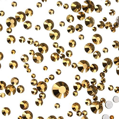 Lvcky 1440Stück Gemischt Größen Flache Rückseite Strass Glas rund Kristalle Nail Art Stones 1,5mm-6mm, 6Größen (1,5mm, 2mm, 2,5mm, 3mm, 4,5mm, 6mm) (Metallic Gold) (Nagel-kristalle In Verschiedenen Größen)
