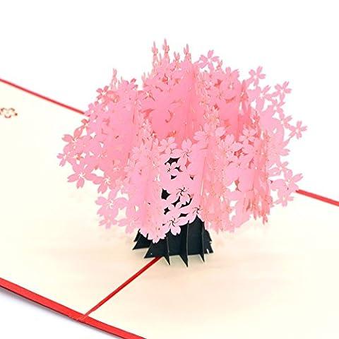 Medigy Carte d'Anniversaire Faite à Main 3D Pop Up Kirigami Creux Cerisiers en fleurs Pliable Carte Postale de Voeux pour Anniversaire Mariage Saint Valentin avec