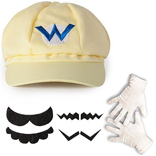 (Katara 1659 - Wario Set, Mütze + Schnurrbart + Handschuhe, Kostüm Verkleidung Fasching Karneval Halloween, Hellbeige)