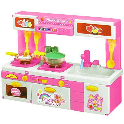 Puppenküche mit Zubehör, Licht & Sound / Kinderküche / Spielzeugküche in pink