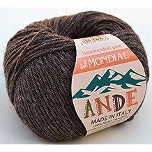 Lane Mondial lana Poto Color 735Chocolat lana de 100% Alpaca Superfine, lana de alpaca para tejer &
