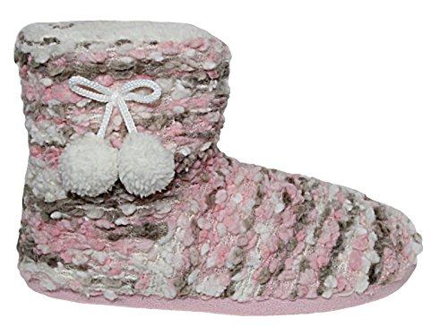 Ladies Cushion Walk Knitted Bobble Winter Faux Fur Fleece Lined Pom Pom...