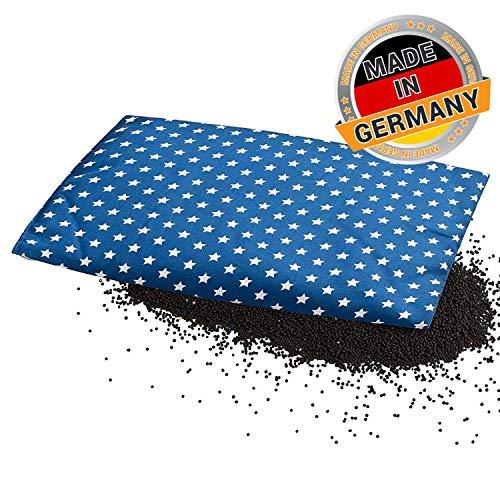 Aminata BALANCE - Wärmekissen Körnerkissen Rapssamen Kissen 20x30 cm Sterne blau weiß Rapskissen gegen Fieber und Schmerzen