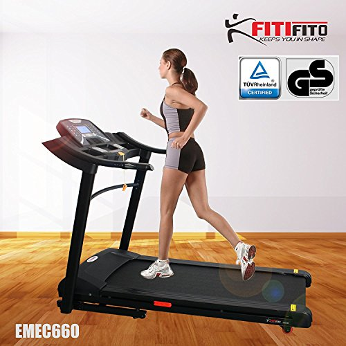 Angebot! Fitifito 660B Profi Laufband 6PS 16km/h mit LED Bildschirm, Dämpfungssystem, 15 Trainingsmodulen inkl. HRC - Klappbar, Schwarz