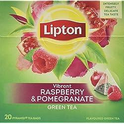 Lipton Grüner Tee Himbeere Granatapfel Pyramidenbeutel 20 Stück, 3er Pack