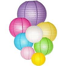"""LIHAO 6"""" 8"""" 10"""" 12"""" Linternas de Papel Farolillo Papel Redondo para decoración (8piezas, 8 colores)"""