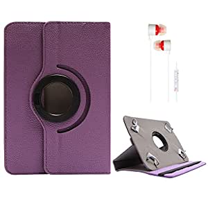 DMG Portable Foldable Stand Holder Cover Case for Iball Slide 7334q - 10 (Purple) + White Stereo Earphone with Mic and Volume Control