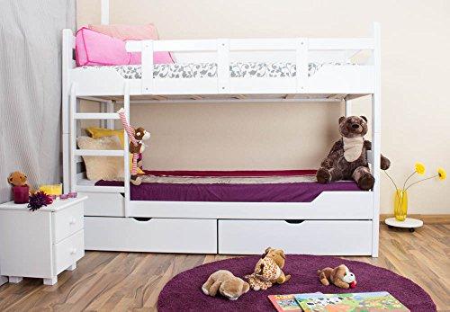 Etagenbett / Stockbett'Easy Möbel' K12/n inkl. 2 Schubladen und 2 Abdeckblenden, Kopf- und Fußteil gerade, Buche Vollholz massiv Weiß - Maße: 90 x 200 cm, teilbar