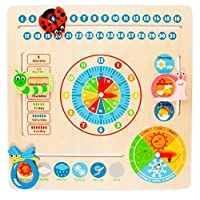 Milly & Ted Wooden Educational Calendar Clock Toy - Childrens Learning Aid