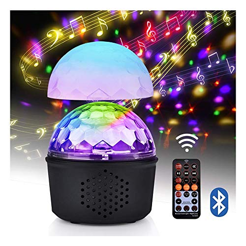 ZSSM Disco-Lichter Party Ball Projektor 9 Farben RGB-Sound mit Bluetooth-Lautsprecher USB-Ladetelefonanschluss Fernbedienung Halloween Crystal Magic Ball Lampe aktiviert