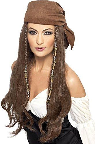 Damen Piraten Perücke mit Kopftuch, Braun, (Kostüme Erwachsene Für Aviator)