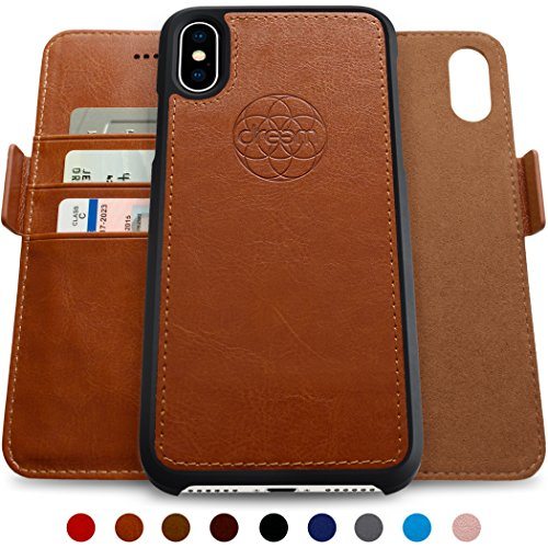 Open-box Apple (Dreem iPhone X: Wallet Case with Detachable SlimCase, Fibonacci Luxury Series, Vegan Leather, RFID Protection, 2-Way Stand, Gift Box - Caramel Brown)