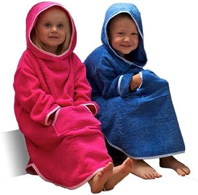Poncho con capucha para niños a partir de 1 a 8 en Rosa o azul, 100% algodón