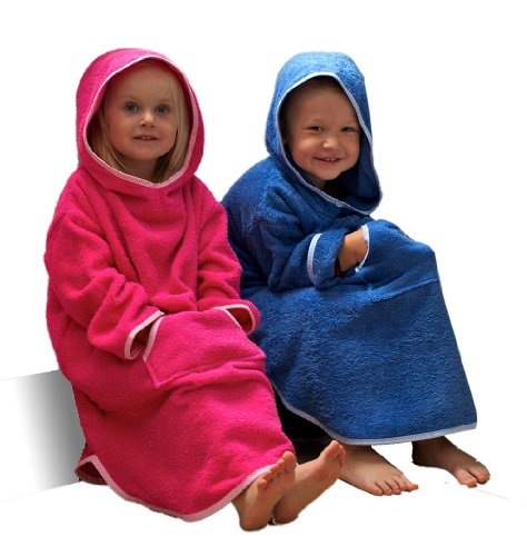 Childrens-Hooded-Ponchos-Ages-1-to-6-in-Fuschcia-Pink-or-Royal-Blue-100-Cotton