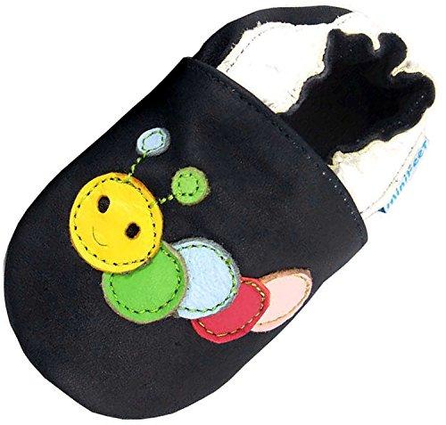MiniFeet Premium Weich Leder Babyschuhe - Verschiedene Stile - Jungen und Mädchen BabySchuhe - Neugeborene bis 3-4 Jahre Raupe