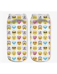 Femenina Modelos 3d patrón de calcetines calcetines para niños de impresión (Emoji-Kissen-1Corazón, color blanco)