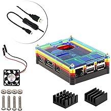 4 en 1 kit profesional para Raspberry Pi 3 & Raspberry Pi Modelo B 2, arco iris en rodajas 9 Capas caja de la caja de refrigeración + cable USB Mini Fan + Micro con giro / encendido, fresco