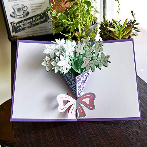 KeavyLee Party Festival Geschenke Gruß-Karte 3D Pop-up Gardenia kreative Einladungs-Karte für Das Geschenk der Danksagungs-Geburtstags-Lehrer