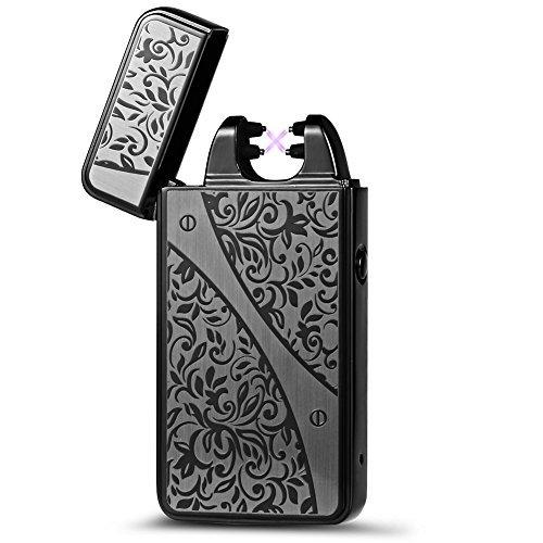 [2016&nbspNeue Version] padgene&reg Multifunktions USB Zigarettenanz&uumlnder, wiederaufladbar doppelte elktrische Arc, flamless winddicht Cigar Torch Feuerzeug kein Gas, mit USB-Kabel --- Best Geschenke schwarz schwarz