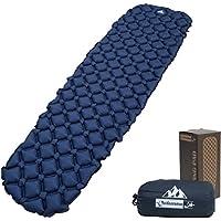 Cama inflable OutdoorsmanLab ultra ligera, ultracompacta para mochileros, campamentos, viajes, con diseño súper cómodo con colchón de celdas de aire, azul
