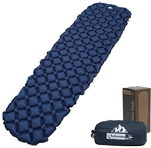 OutdoorsmanLab Ultralight Sleeping Pad - Ultra-Compact For Backpacking, Camping, Travel W/ Super Comfortable Air-Support Cells Design Blue