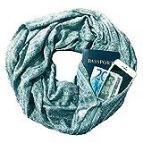 YYXXX Schal,Schal Pocket Schal Unsichtbarer Reißverschluss Schlanker Minimalist Travel Portable Warm Schal, Grün B, 160 * 50Cm