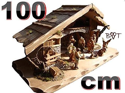 Sehr Große Weihnachtskrippe + Zubehör, BTV 100 cm in massiv Vollholz Massivholz mit / ohne Krippenfiguren in Echtholz-Optik, Figuren auf Wunsch mit Beleuchtung K100OF Krippen für Weihnachten aus Holz Weihnachtskrippen auch für Schaufensterdeko hochwertige Schaufensterdekoration Schaufenster Krippenzubehör