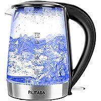 Bollitore Acqua Elettrico, Bollitore da 1,7L in vetro con indicatore luminoso a LED blu, bollitore elettrico senza BPA con spegnimento automatico e protezione da bollitura a secco, omologazione FDA