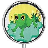 Eyes Tiny Amphibian Animal auf Big Leaf und Teichpflanzen withButterfly Pill Case Round CaseThree-Compartment Pill Box/Case