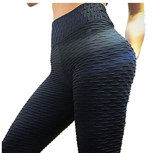 Morbuy Damen Leggings Sporthose, Sport Gym Yoga Workout Pants Basic Fitness Hohe Taille Jogginghose Trainingshose Skinny Hosen Hose Camouflage Stitching (M, Schwarze Falten) - Workout Asics Hose
