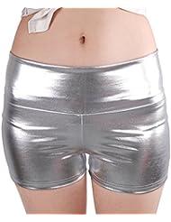 JNTworld les femmes sexy Faux cuir Shorts pantalons taille haute en satin noir skinny