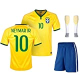 Brazil 2017 Youths Kit Shirt & Shorts & Socks With NEYMAR Name - *REPLICA * (26 (10/11 years))