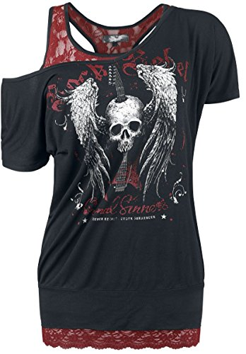Womens Double-layer-t-shirt (Rock Rebel by EMP Skull Guitar Double Layer Girl-Shirt Schwarz/Bordeaux XL)