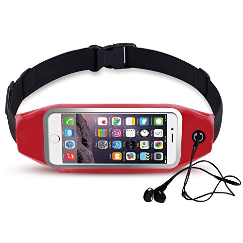 Universal Running Belt, Shalwinn Water Resistant Sweatproof Waist Bag with Zipper for iPhone 6S Plus / 6 Plus / 6S / 6, (NOT for iPhone 7/7plus), Galaxy S7 / S6 / (Red 4.5-6.0 Inch Screen)
