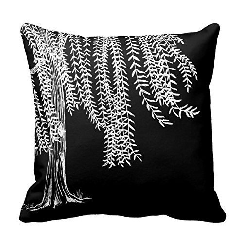 GONIESA 16x16 Inch/40cmx40cm Bedding Pillow Case Home Decoration Square Decorative Cushion Cover Pillowcase Black and White Weeping Willow Tree Pillowcases Square Cut Willow