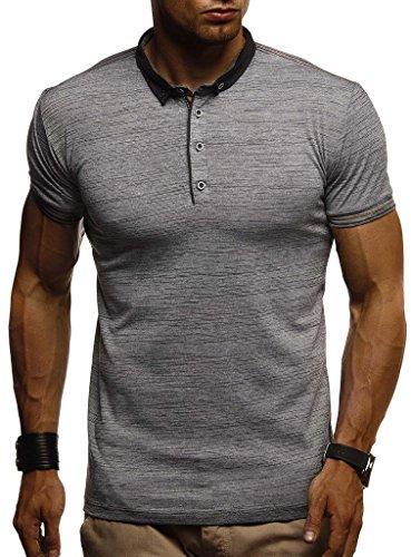 LEIF NELSON Herren Sommer T-Shirt Polo Kragen Slim Fit Baumwolle-Anteil   Basic schwarzes Männer Poloshirts Longsleeve-Sweatshirt Kurzarm   Weißes Kurzarmshirts lang   LN1310 Anthrazit Medium (Polo Shirt Herren Slim Fit)