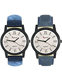 Talgo 2017 New Collection Foxter (combo Of 2) White Round Shapped Dial Leather Strap Fashion Wrist Watch For Boys... - B0763V955D