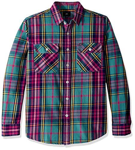 Obey Herren Nelson Long Sleeve Woven Shirt Button Down Hemd, Light Sage Multi, Mittel - Long Sleeve Woven Shirt