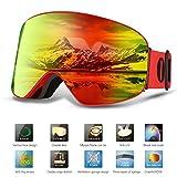 Skibrille Brillenträger Für Herren Und Damen,OUTAD Anti-Beschlag UV400 Große Rahmenlose Auswechselbare Sphärische Skibrille Sportbrille Snoboardbrille Verspiegelt für jugendliche Skifahren Snowmobile