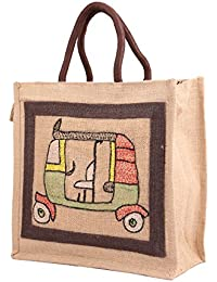Literacy India Indha Hand Embroidery Work Jute Lunch Bag For Men/Women