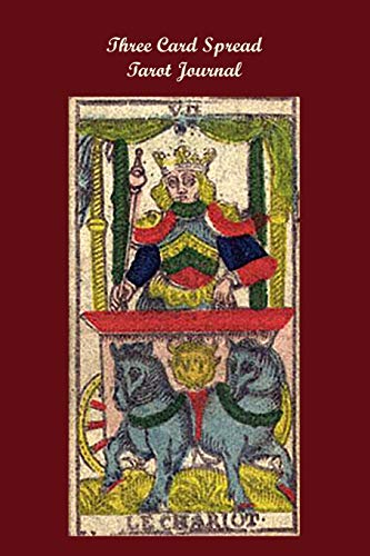 Three Card Spread Tarot Journal: Le Chariot Antique Tarot Card on Red Background, A Daily Record Your Readings Diary -