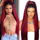 Perruques pour femme Cheveux longs, lisses et synthétiques Ombré Racines noires foncées et pointes rouges