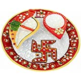 Kashish Trends 1 Pcs Handcrafted Marble Pooja Plate With Diya And Chopda For Puja And Home Decor/Gift For Love Ones