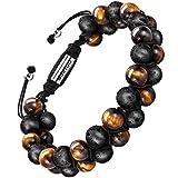 Bracelet en pierre naturelle pour les hommes, Braceletréglable de perlesavec huile essentielle Yoga comme Diffuser Bracelet pour hommes (grosse pierre de lave et œil de tigre jaune)...