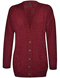 Purple Hanger New Womens Everyday Long Sleeve Button Top Ladies Chunky Aran Cable Knit Grandad Cardigan
