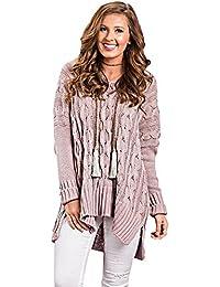 Otoño e invierno nuevo color sólido con cuello en V manga larga suéter de cáñamo casual