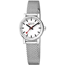 Mondaine  evo2 petite 26mm sapphire  Watch with St. Steel brushed Case white Dial and stainless steel mesh Strap MSE.26110.SM